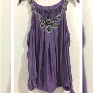 Purple satin blouse